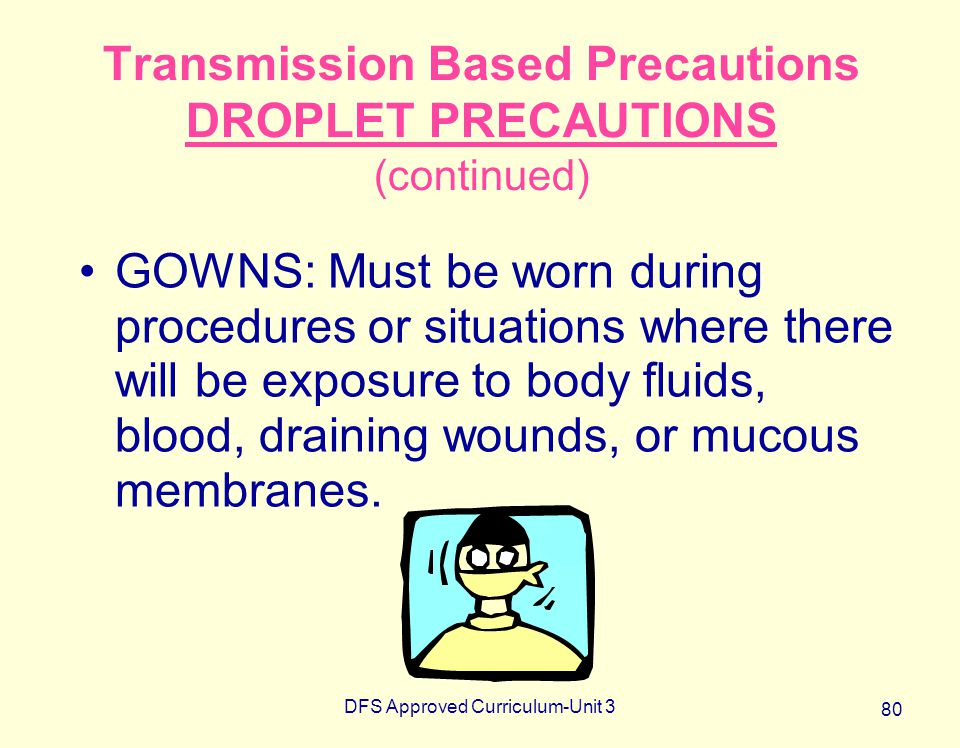 DFS Approved Curriculum-Unit 3 80 Transmission Based Precautions DROPLET PRECAUTIONS (continued) GOWNS: Must be worn during procedures or situations w