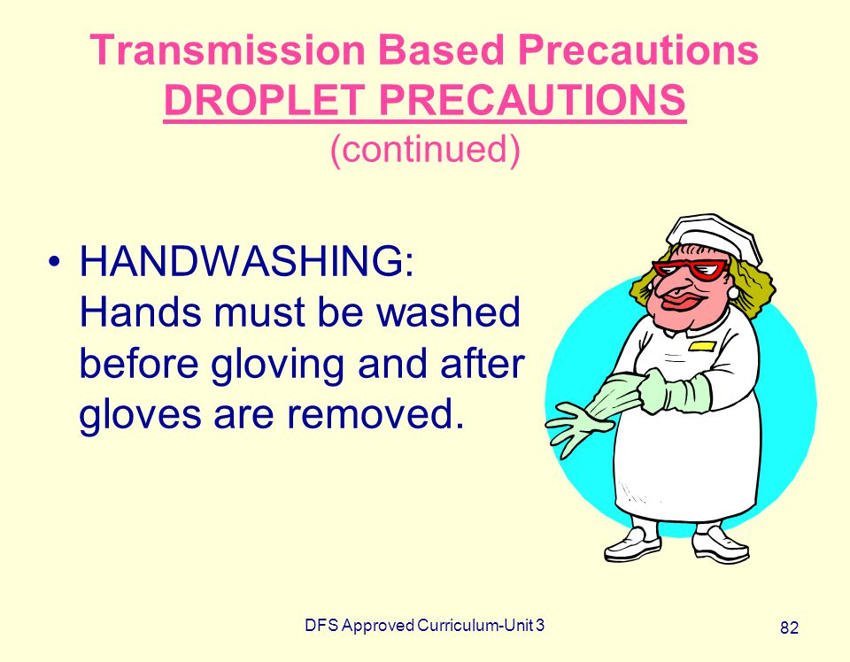 DFS Approved Curriculum-Unit 3 82 Transmission Based Precautions DROPLET PRECAUTIONS (continued) HANDWASHING: Hands must be washed before gloving and