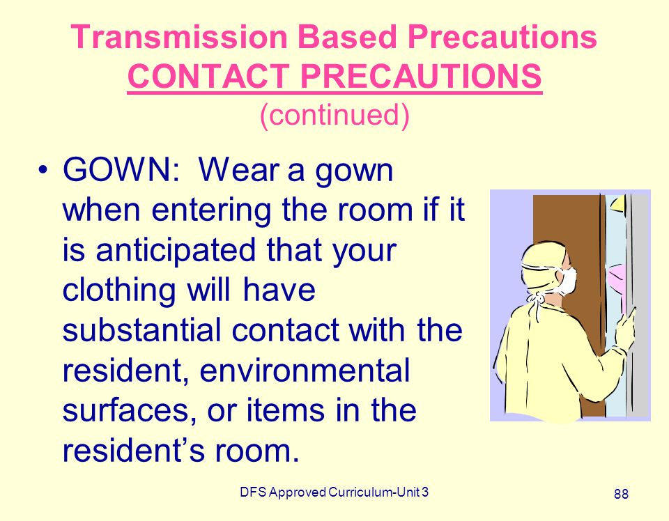DFS Approved Curriculum-Unit 3 88 Transmission Based Precautions CONTACT PRECAUTIONS (continued) GOWN: Wear a gown when entering the room if it is ant