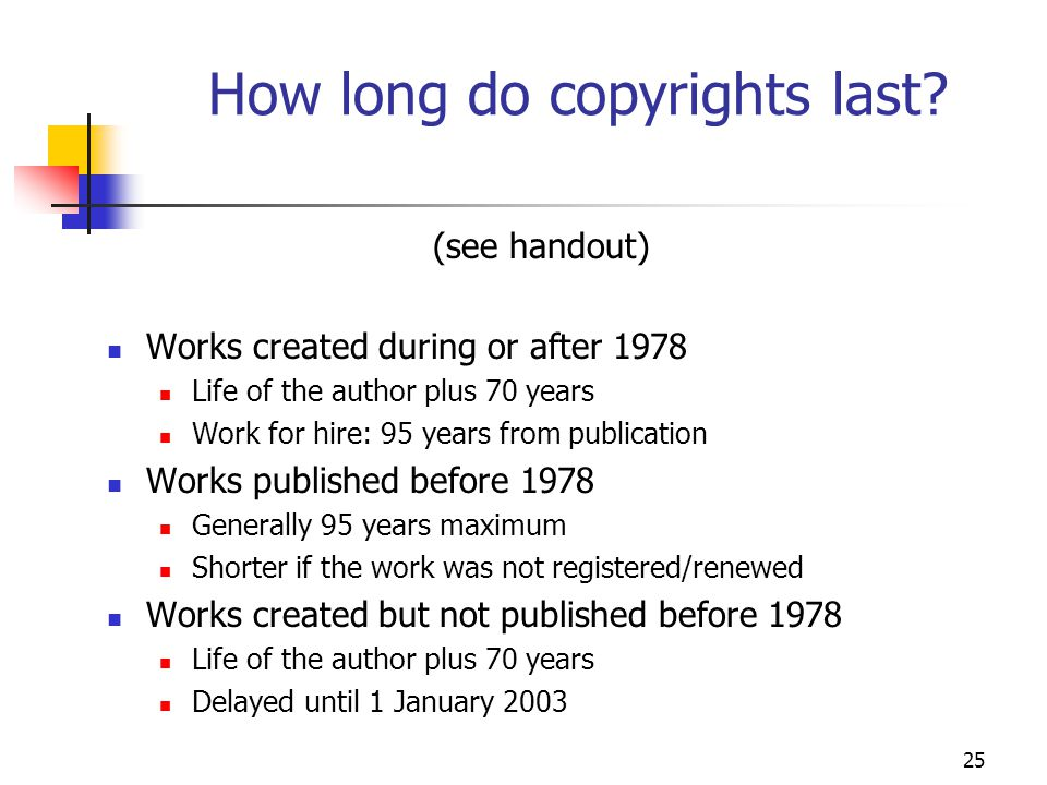 25 How long do copyrights last? (see handout) Works created during or after 1978 Life of the author plus 70 years Work for hire: 95 years from publica
