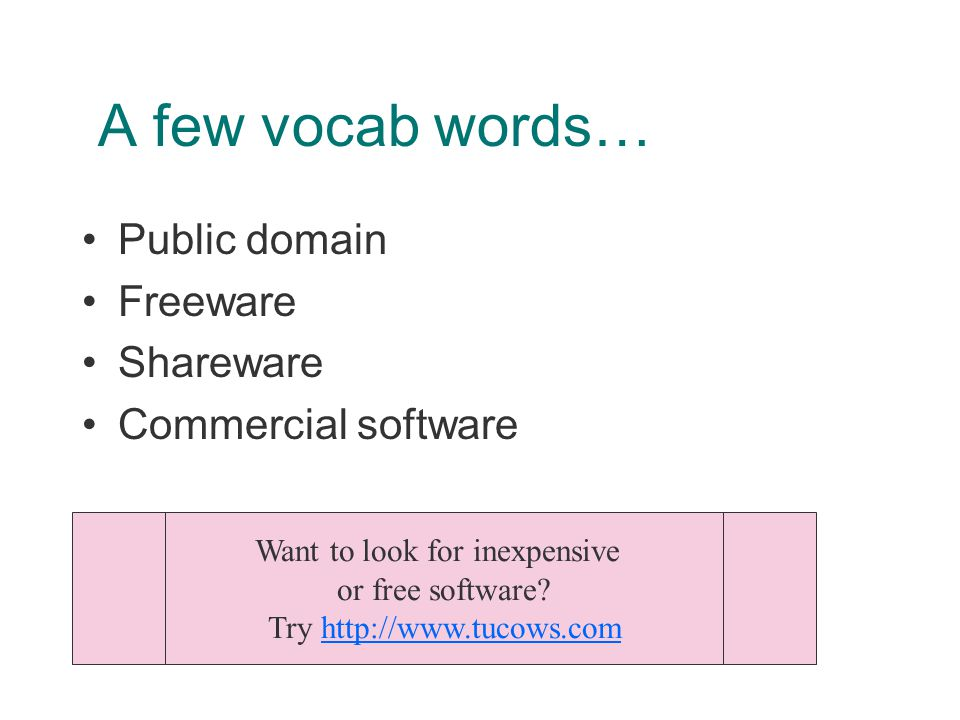 A few vocab words… Public domain Freeware Shareware Commercial software Want to look for inexpensive or free software.