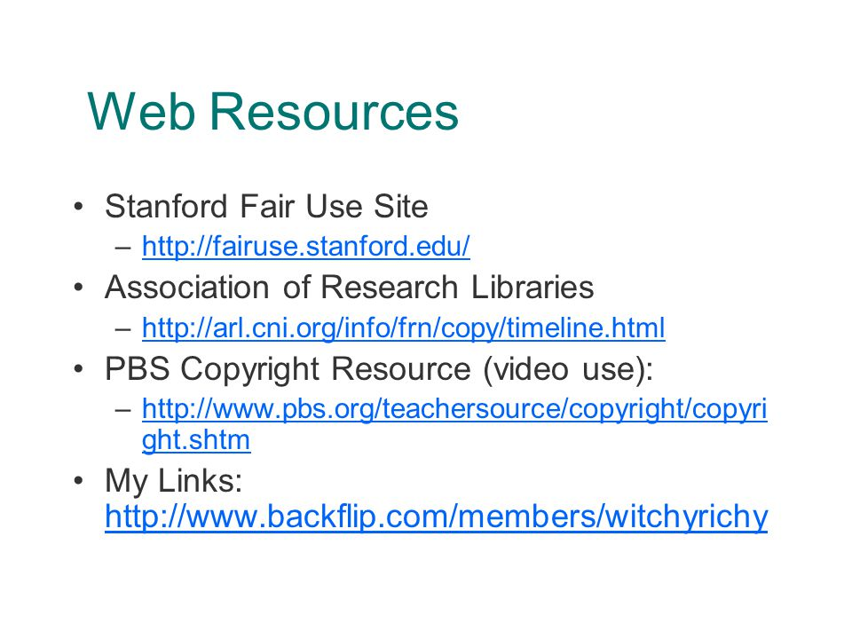 References Davidson-Hall, The Educators' Lean and Mean No-Fat Guide to Fair Use, Technology and Learning, Vol.
