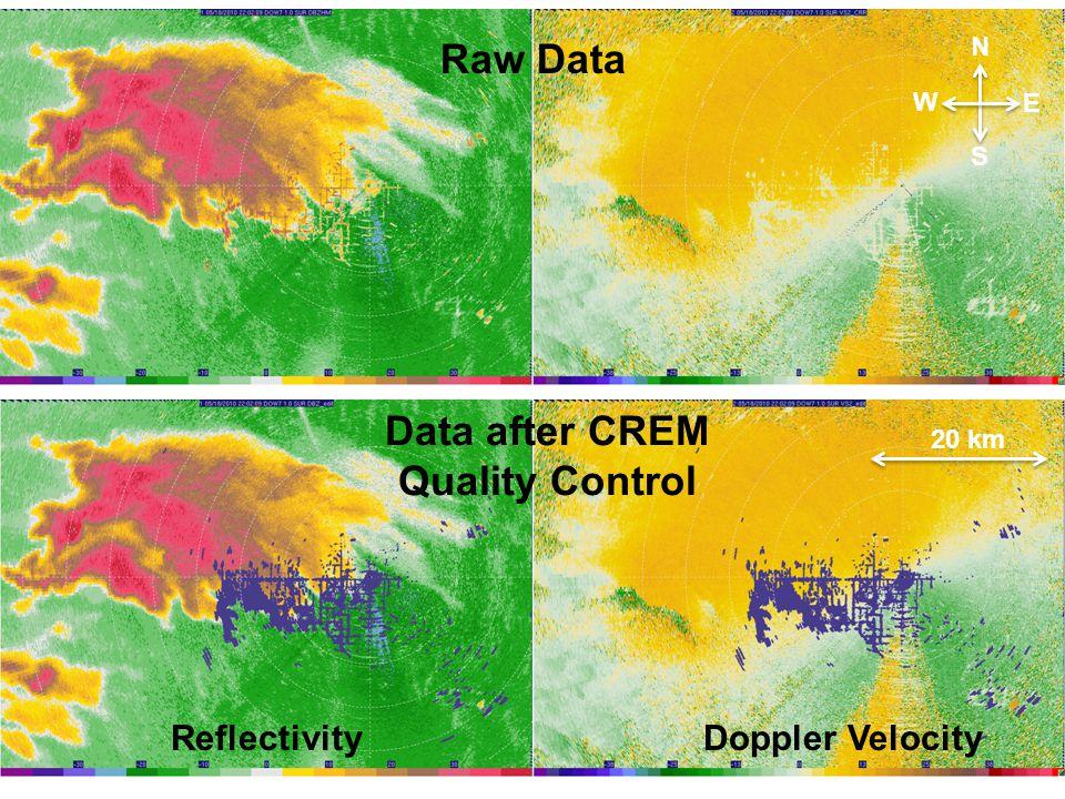 ReflectivityDoppler Velocity Raw Data Data after CREM Quality Control N S E W 20 km