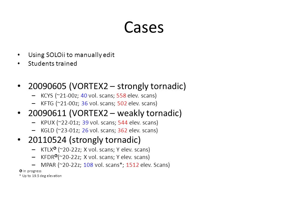 Cases Using SOLOii to manually edit Students trained 20090605 (VORTEX2 – strongly tornadic) – KCYS (~21-00z; 40 vol.