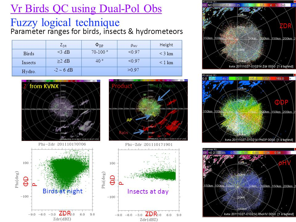 Vr Birds QC using Dual-Pol Obs Fuzzy logical technique ZDR ρHV ΦDP Birds at night Insects at day Z from KVNX Product Rain Bird & insect AP ΦDPΦDP ZDR Parameter ranges for birds, insects & hydrometeors ΦDPΦDP