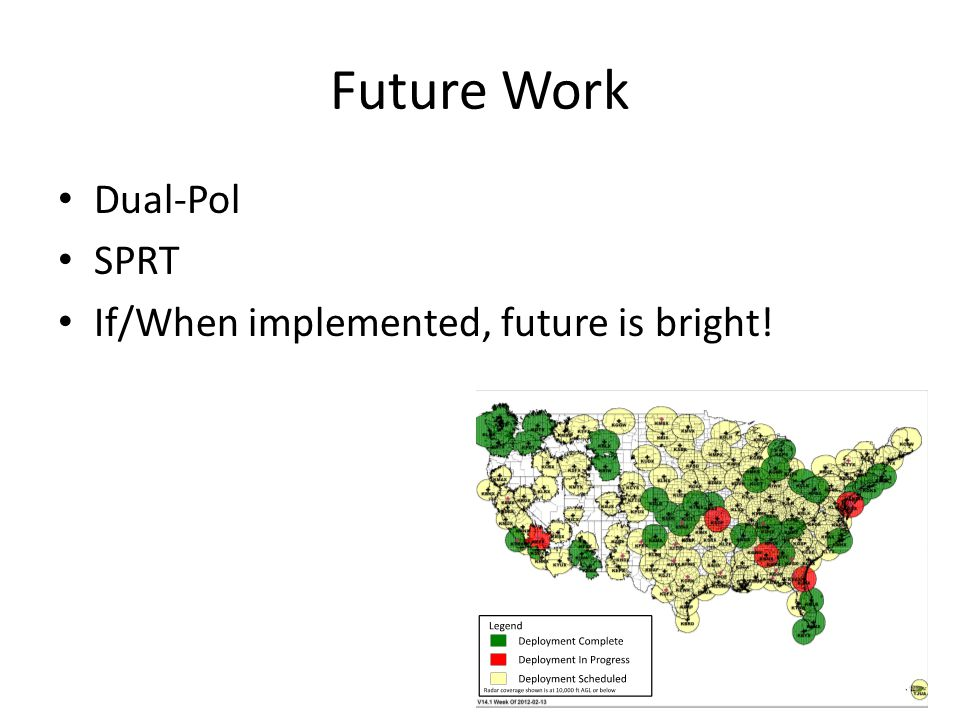 Future Work Dual-Pol SPRT If/When implemented, future is bright!