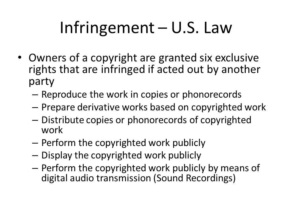 Infringement – U.S.