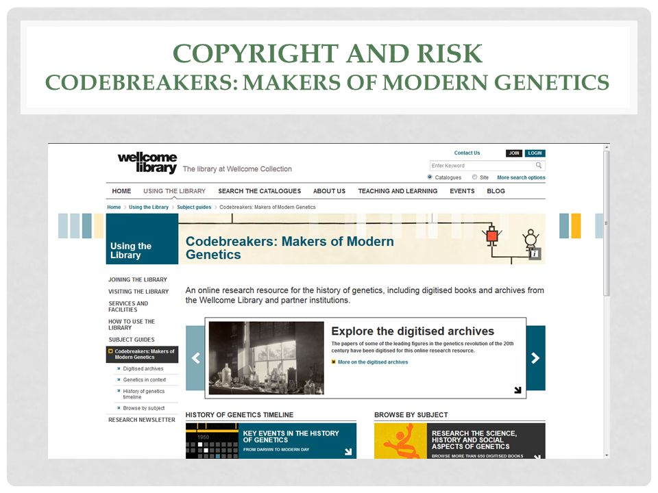 COPYRIGHT AND RISK CODEBREAKERS: MAKERS OF MODERN GENETICS