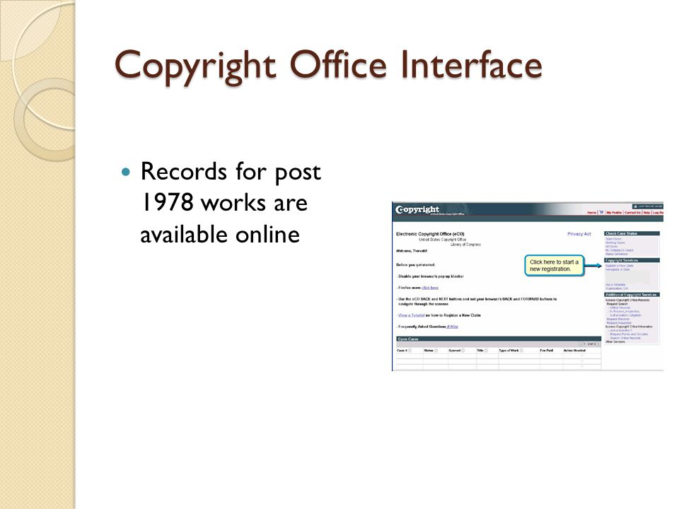 Copyright Office Interface Records for post 1978 works are available online