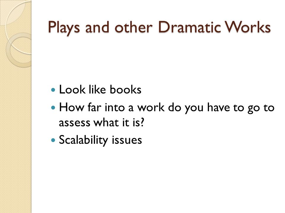 Plays and other Dramatic Works Look like books How far into a work do you have to go to assess what it is.