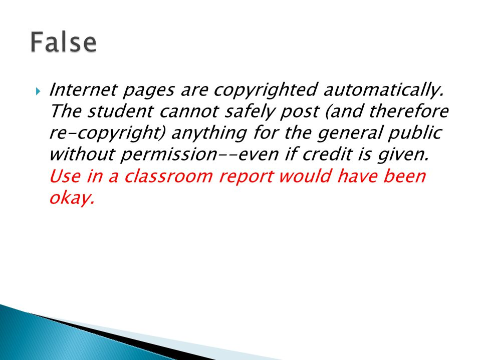  Internet pages are copyrighted automatically.
