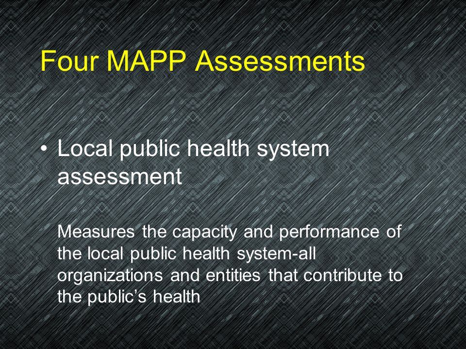 Four MAPP Assessments Community themes and strengths assessment Identifies issues that interest the community, perceptions about quality of life, and