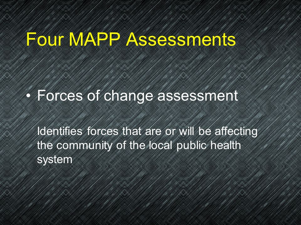 Four MAPP Assessments Community health status assessment Assesses data about health status, quality of life, and risk factors in the community