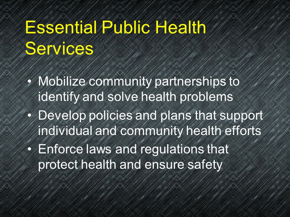 Essential Public Health Services Monitor health status to identify community health problems Diagnose and investigate health problems and health hazar