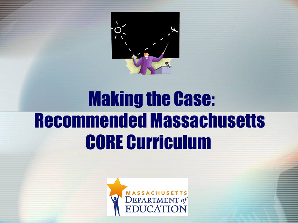 12 Next Steps: Massachusetts Core Curriculum Solicit additional input from superintendents, principals and teachers Develop additional guidance on the Core Curriculum including Companion Documents Present Admissions Advisory Committee findings and recommendations to Board of Higher Education Present the Core Curriculum to the Board of Education for discussion and action