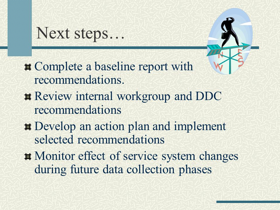Next steps… Complete a baseline report with recommendations. Review internal workgroup and DDC recommendations Develop an action plan and implement se