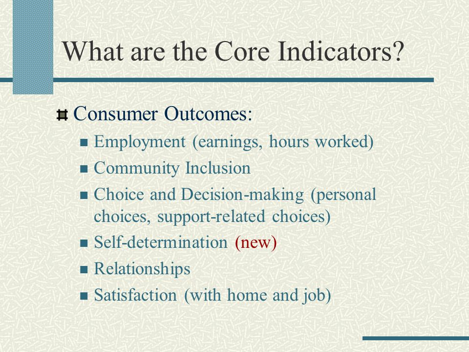 What are the Core Indicators? Consumer Outcomes: Employment (earnings, hours worked) Community Inclusion Choice and Decision-making (personal choices,