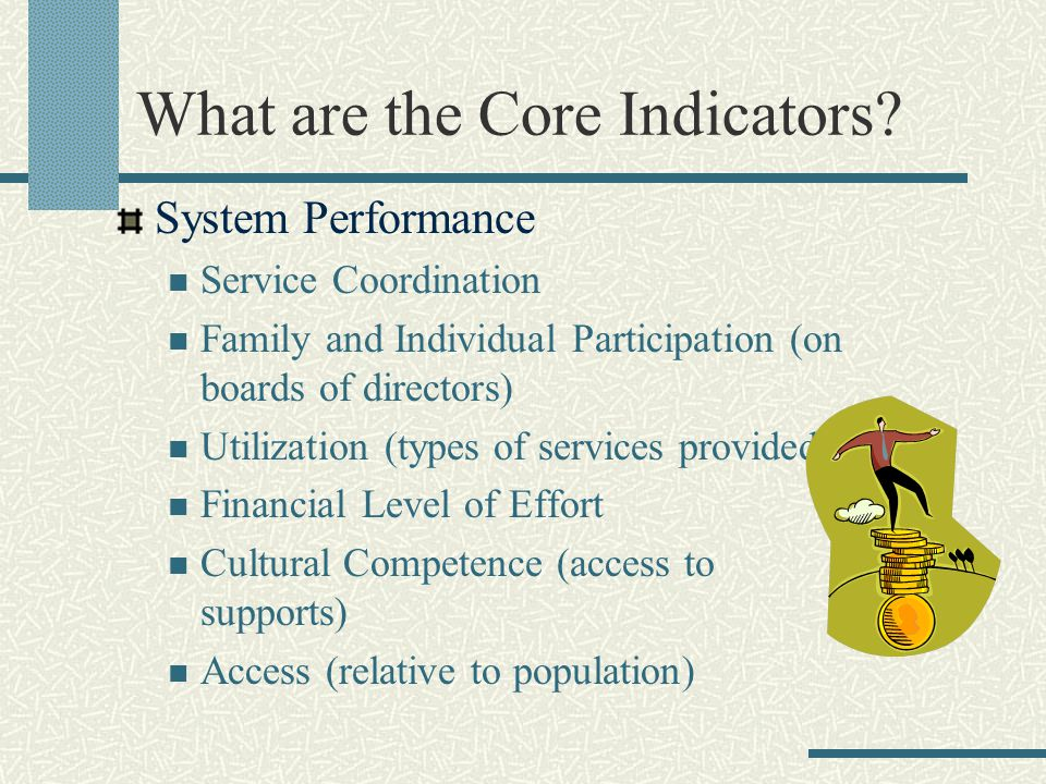 What are the Core Indicators? System Performance Service Coordination Family and Individual Participation (on boards of directors) Utilization (types