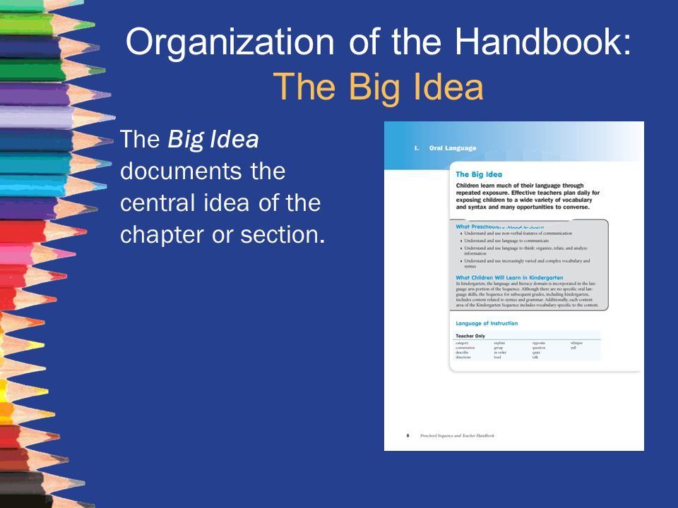 Organization of the Handbook: The Big Idea The Big Idea documents the central idea of the chapter or section.