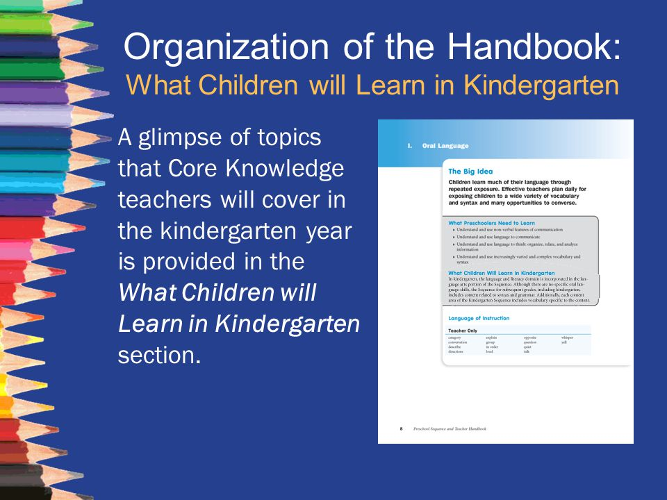 Organization of the Handbook: What Children will Learn in Kindergarten A glimpse of topics that Core Knowledge teachers will cover in the kindergarten
