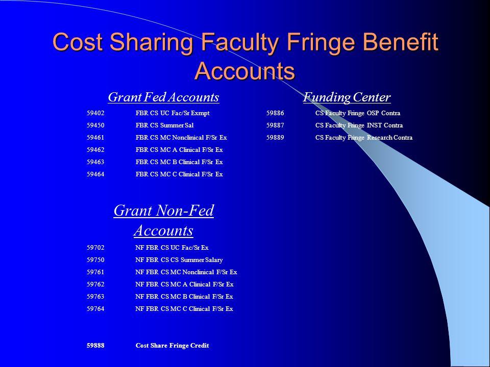 Cost Sharing Faculty Fringe Benefit Accounts Grant Fed Accounts 59402FBR CS UC Fac/Sr Exmpt 59450FBR CS Summer Sal 59461FBR CS MC Nonclinical F/Sr Ex