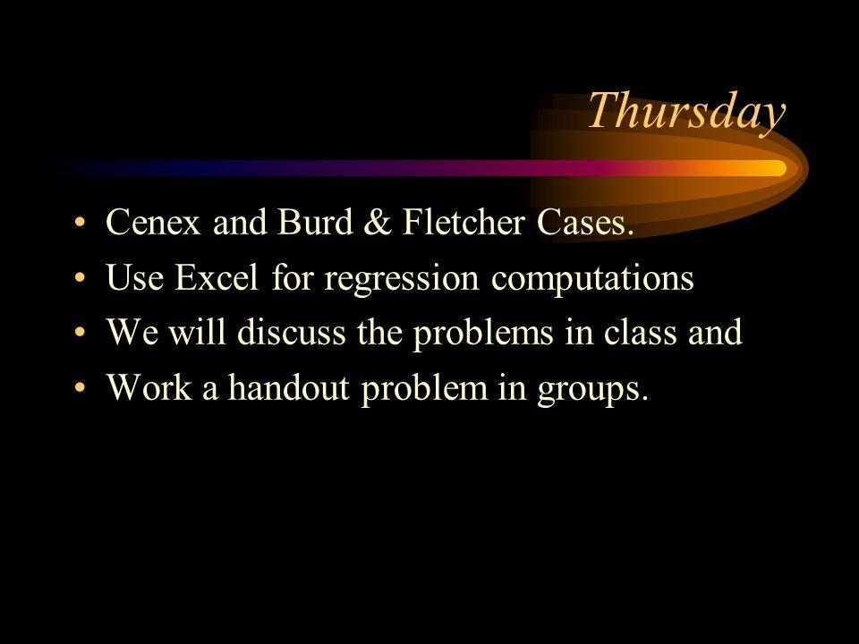 Thursday Cenex and Burd & Fletcher Cases.