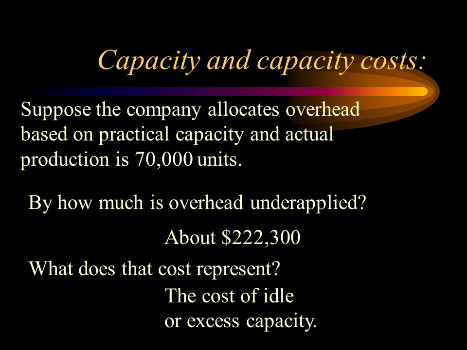 Capacity and capacity costs: Suppose the company allocates overhead based on practical capacity and actual production is 70,000 units.