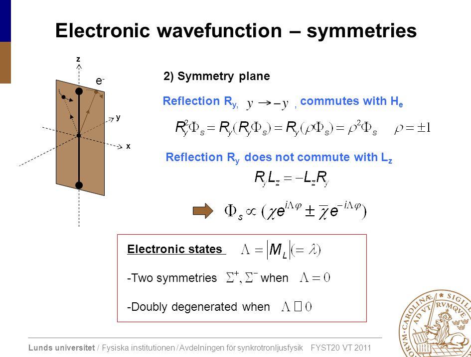 Lunds universitet / Fysiska institutionen / Avdelningen för synkrotronljusfysik FYST20 VT 2011 Electronic wavefunction – symmetries x y z e-e- 2) Symm