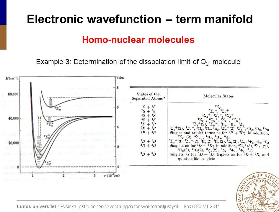 Lunds universitet / Fysiska institutionen / Avdelningen för synkrotronljusfysik FYST20 VT 2011 Electronic wavefunction – term manifold Homo-nuclear mo