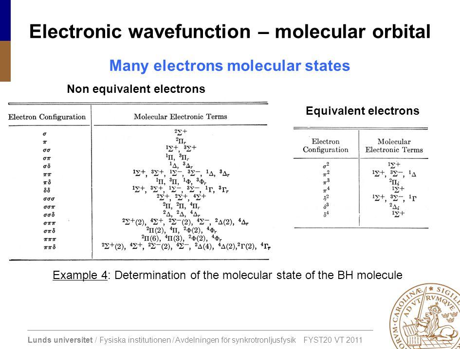 Lunds universitet / Fysiska institutionen / Avdelningen för synkrotronljusfysik FYST20 VT 2011 Electronic wavefunction – molecular orbital Many electr