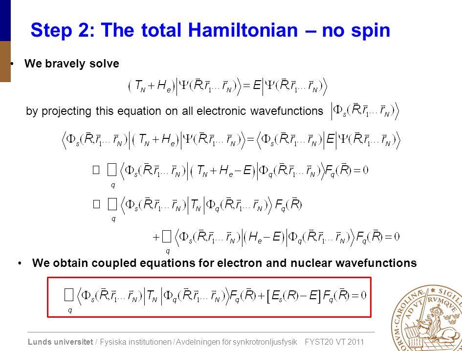 Lunds universitet / Fysiska institutionen / Avdelningen för synkrotronljusfysik FYST20 VT 2011 Step 2: The total Hamiltonian – no spin We bravely solv