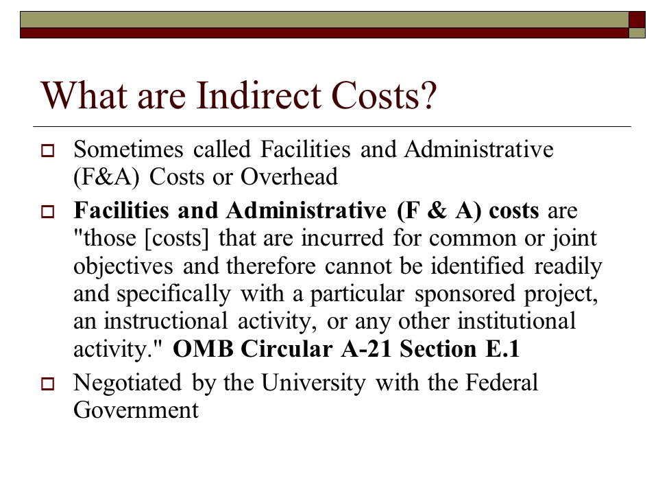 What are Indirect Costs.