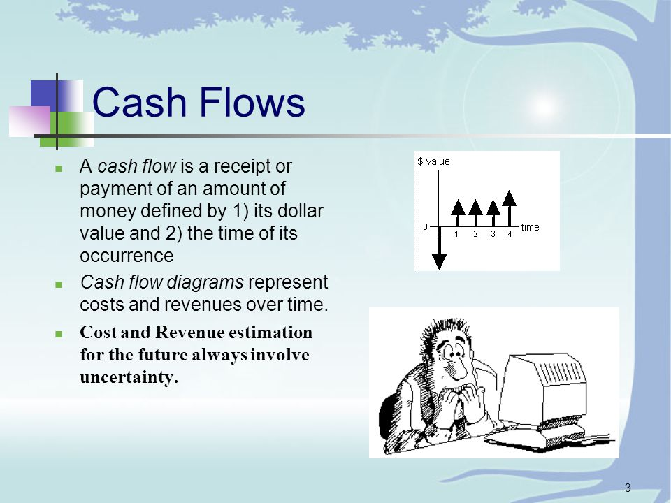 3 Cash Flows A cash flow is a receipt or payment of an amount of money defined by 1) its dollar value and 2) the time of its occurrence Cash flow diagrams represent costs and revenues over time.