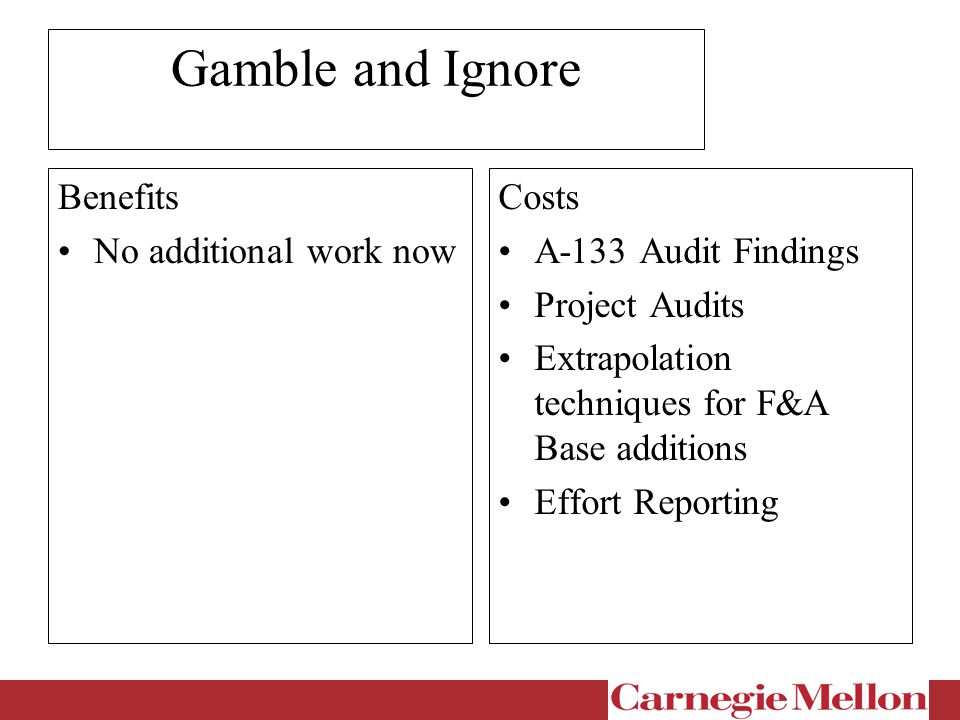 Gamble and Ignore Benefits No additional work now Costs A-133 Audit Findings Project Audits Extrapolation techniques for F&A Base additions Effort Reporting