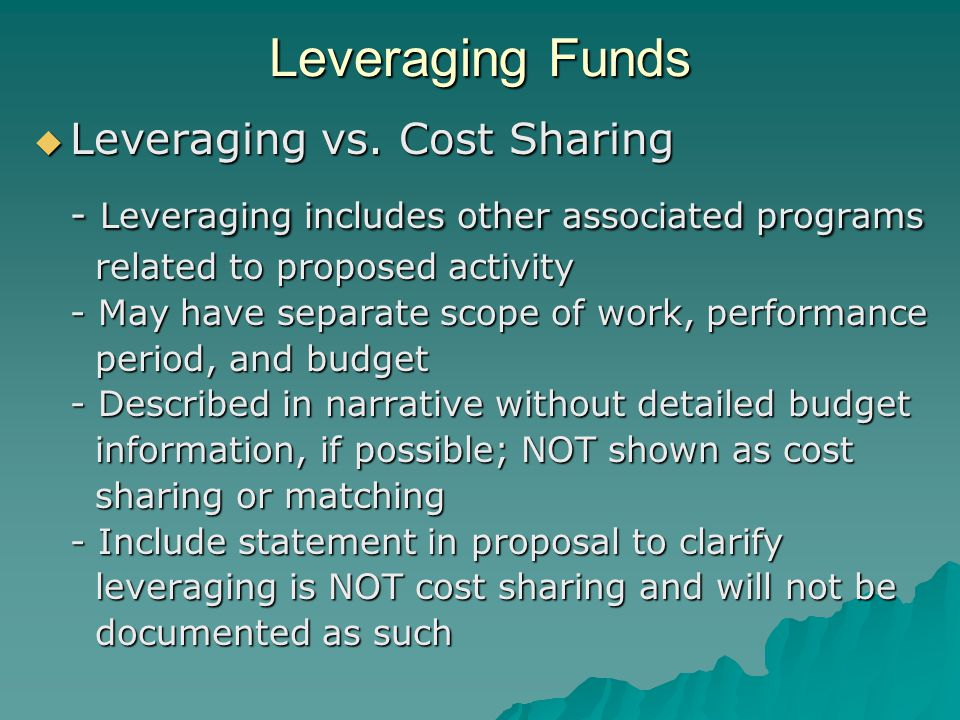 Leveraging Funds  Leveraging vs.