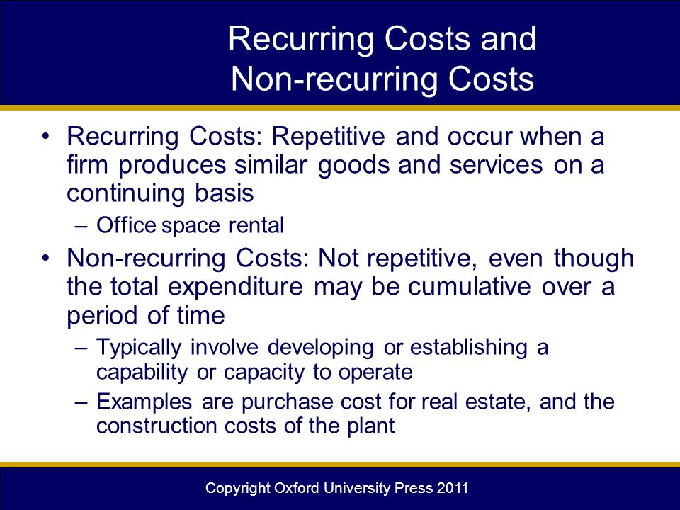 Copyright Oxford University Press 2011 Recurring Costs and Non-recurring Costs Recurring Costs: Repetitive and occur when a firm produces similar good