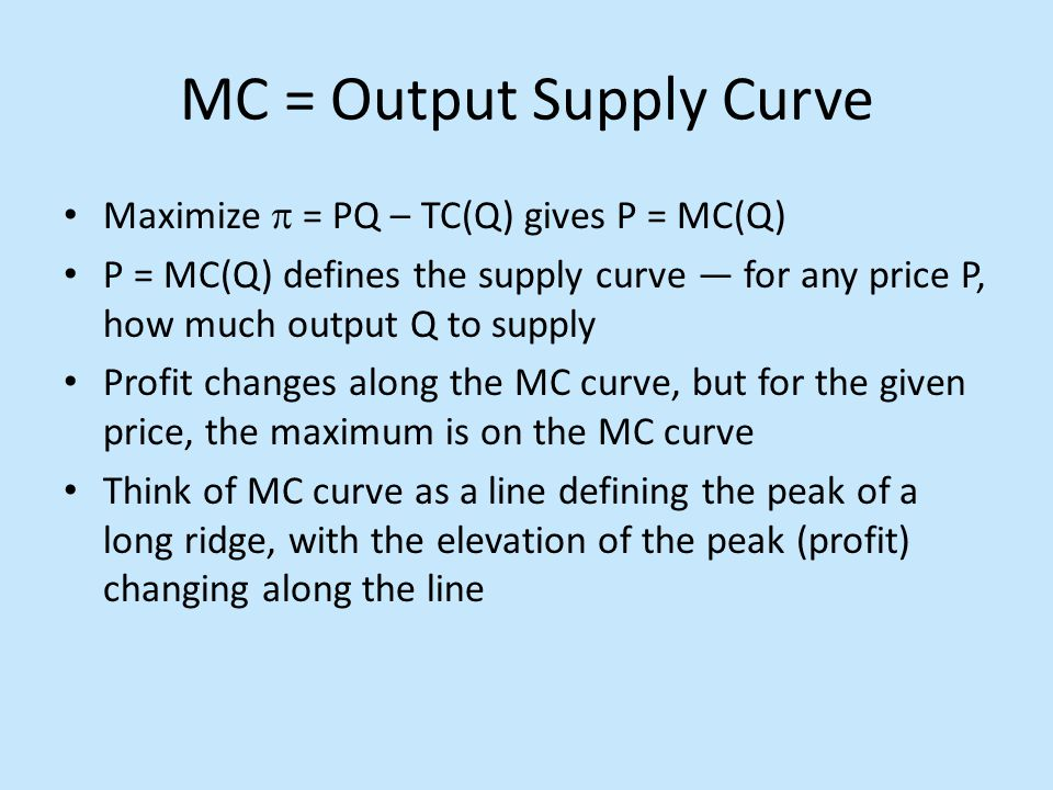 MC = Output Supply Curve Maximize  = PQ – TC(Q) gives P = MC(Q) P = MC(Q) defines the supply curve — for any price P, how much output Q to supply Pro