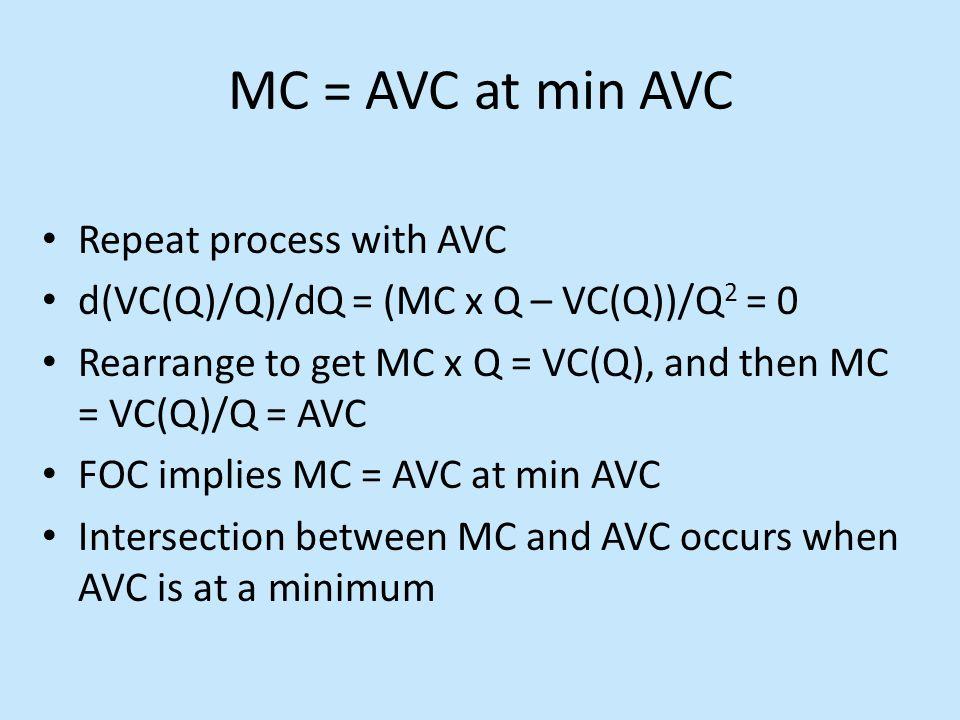 MC = AVC at min AVC Repeat process with AVC d(VC(Q)/Q)/dQ = (MC x Q – VC(Q))/Q 2 = 0 Rearrange to get MC x Q = VC(Q), and then MC = VC(Q)/Q = AVC FOC