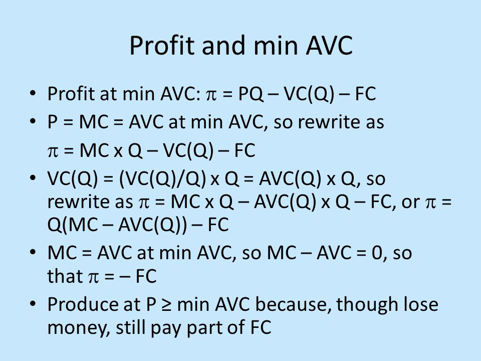 Profit and min AVC Profit at min AVC:  = PQ – VC(Q) – FC P = MC = AVC at min AVC, so rewrite as  = MC x Q – VC(Q) – FC VC(Q) = (VC(Q)/Q) x Q = AVC(Q) x Q, so rewrite as  = MC x Q – AVC(Q) x Q – FC, or  = Q(MC – AVC(Q)) – FC MC = AVC at min AVC, so MC – AVC = 0, so that  = – FC Produce at P ≥ min AVC because, though lose money, still pay part of FC