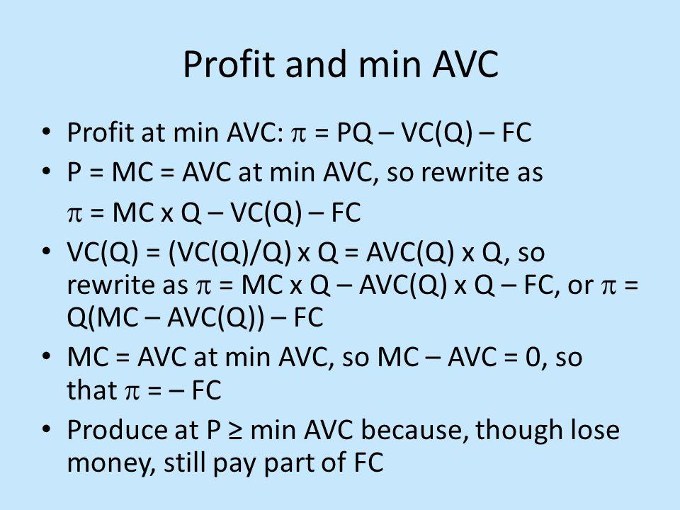 Profit and min AVC Profit at min AVC:  = PQ – VC(Q) – FC P = MC = AVC at min AVC, so rewrite as  = MC x Q – VC(Q) – FC VC(Q) = (VC(Q)/Q) x Q = AVC(Q
