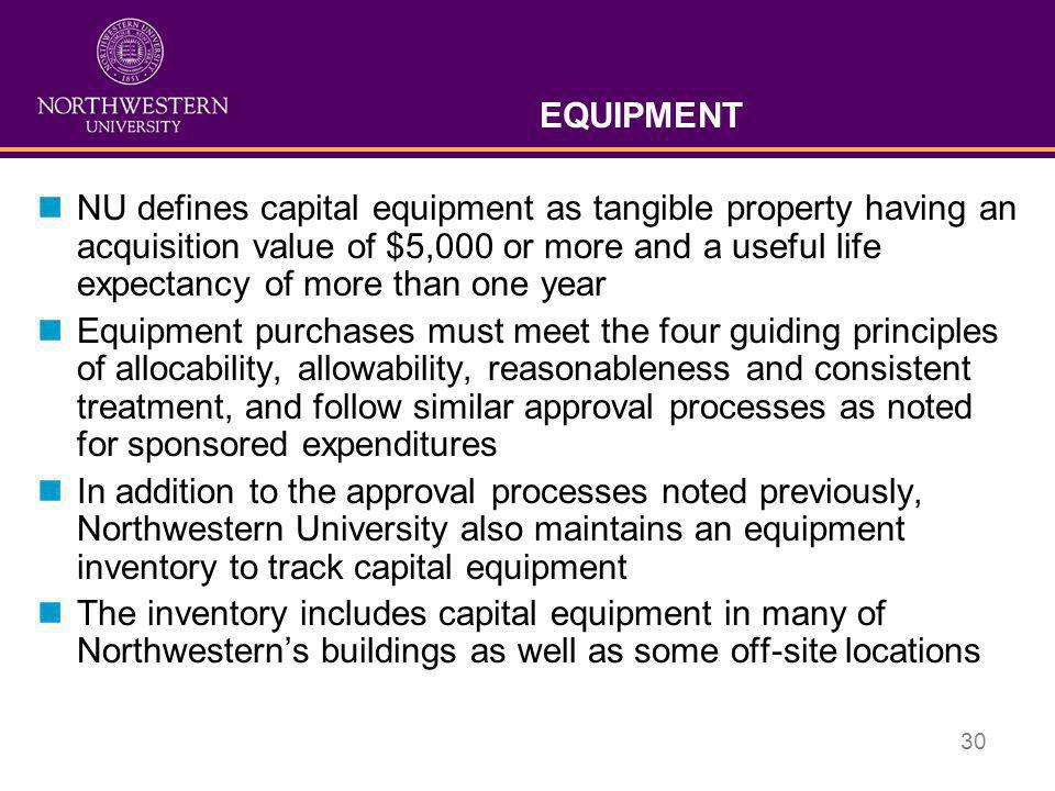 30 EQUIPMENT nNU defines capital equipment as tangible property having an acquisition value of $5,000 or more and a useful life expectancy of more tha