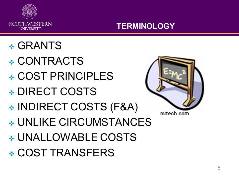 5 TERMINOLOGY  GRANTS  CONTRACTS  COST PRINCIPLES  DIRECT COSTS  INDIRECT COSTS (F&A)  UNLIKE CIRCUMSTANCES  UNALLOWABLE COSTS  COST TRANSFERS