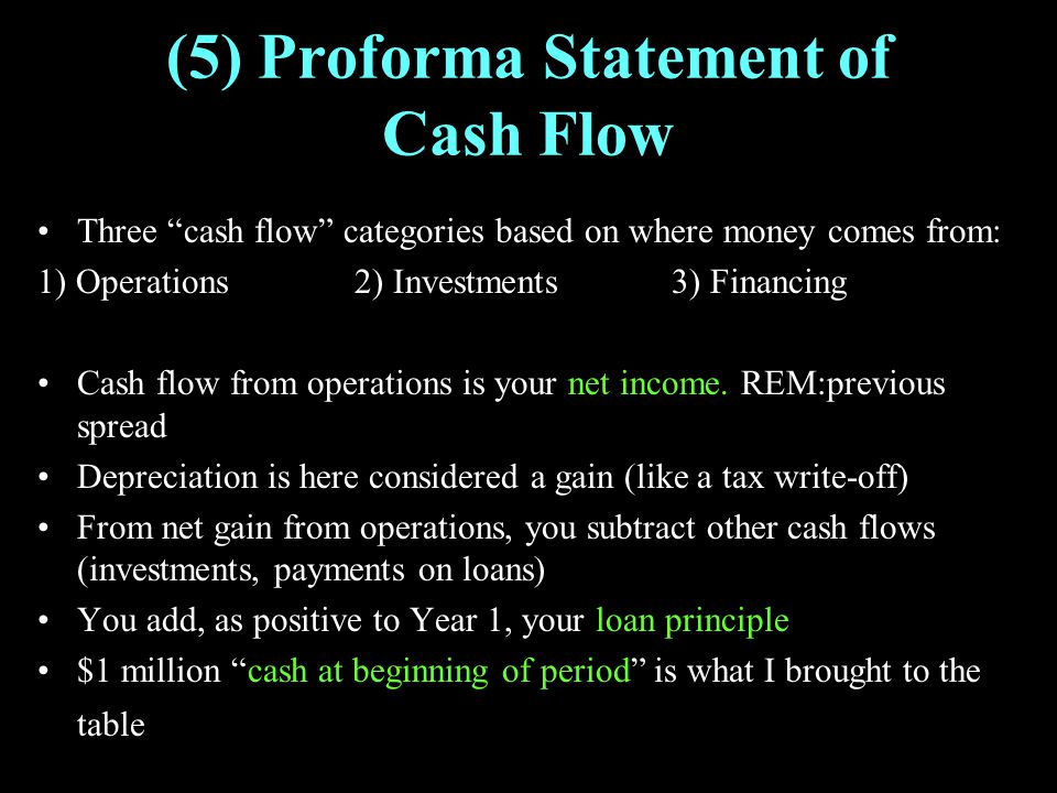 "(5) Proforma Statement of Cash Flow Three ""cash flow"" categories based on where money comes from: 1) Operations2) Investments3) Financing Cash flow fr"