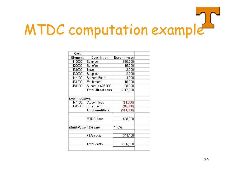 20 MTDC computation example