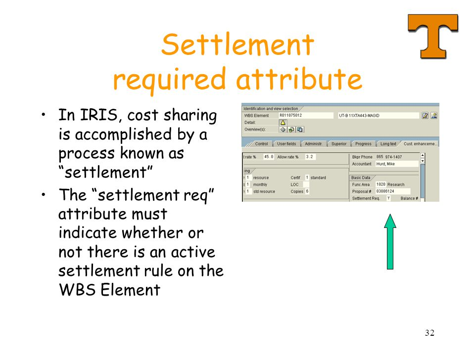 32 Settlement required attribute In IRIS, cost sharing is accomplished by a process known as settlement The settlement req attribute must indicate whether or not there is an active settlement rule on the WBS Element