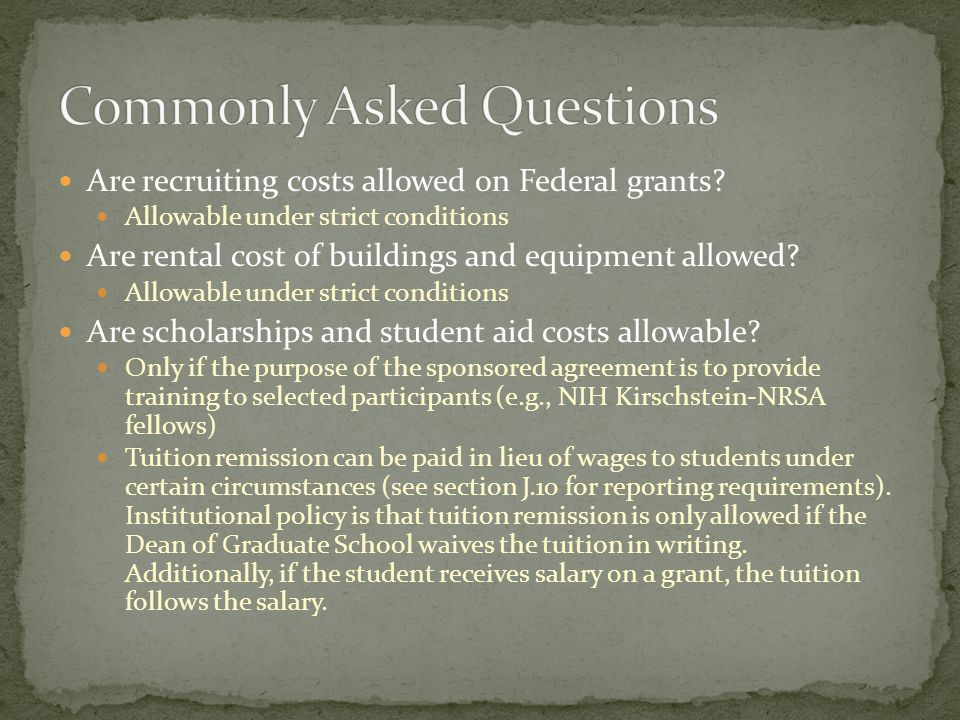 Are clerical salaries allowed on Federal grants? Generally allowable as an F&A expense Are office supplies allowed on Federal grants? Generally allowa