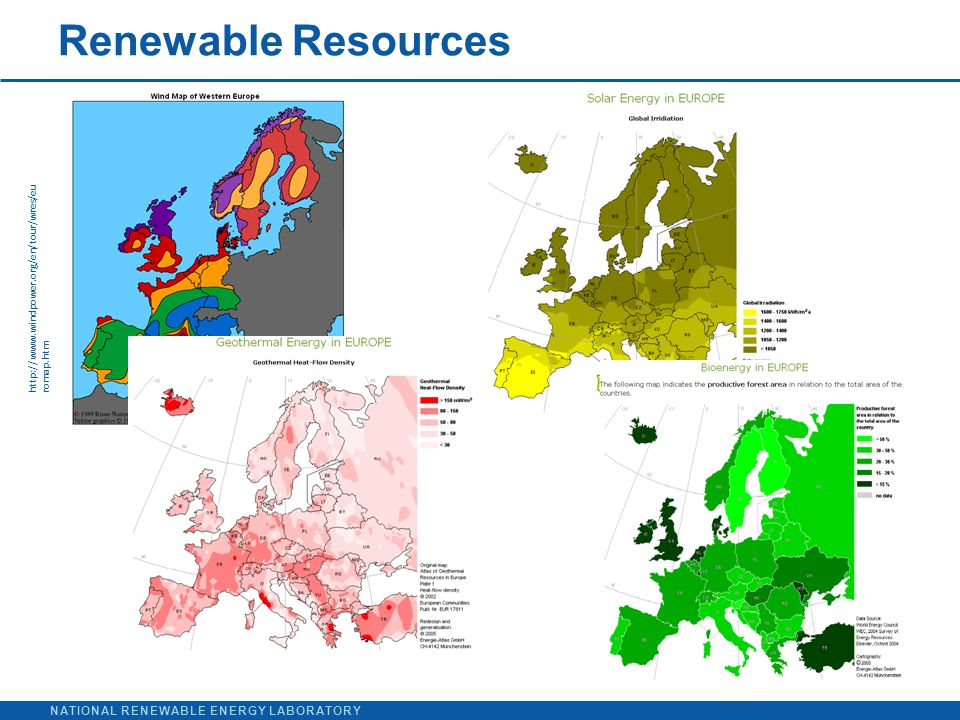 NATIONAL RENEWABLE ENERGY LABORATORY http://www.windpower.org/en/tour/wres/eu romap.htm Renewable Resources