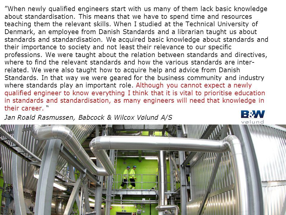 """Tekstslide i punktform Rubrik, helst 1 linje Brug """"Forøg/Formindsk indryk"""" for at få de forskellige niveauer frem """"When newly qualified engineers star"""