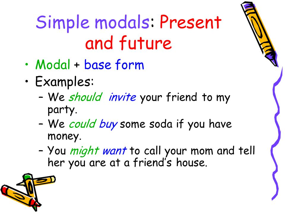 Perfect modals: past Modal + have + past participle Examples: –You should have called me last night.
