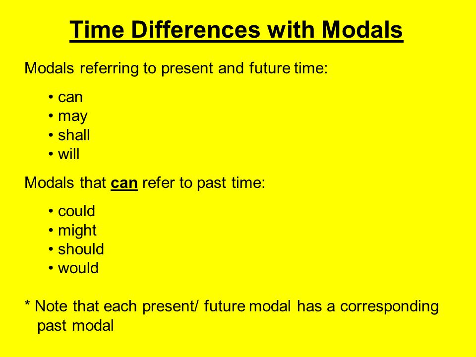 Time Differences with Modals Modals referring to present and future time: can may shall will Modals that can refer to past time: could might should wo